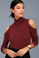 Nicky Wine Red Cold-Shoulder Sweater Top 1