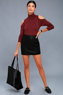 Nicky Wine Red Cold-Shoulder Sweater Top 2