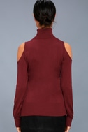 Nicky Wine Red Cold-Shoulder Sweater Top 3