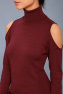 Nicky Wine Red Cold-Shoulder Sweater Top 4