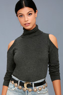 Nicky Charcoal Grey Cold-Shoulder Sweater Top 1
