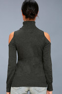 Nicky Charcoal Grey Cold-Shoulder Sweater Top 3