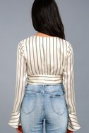 Odelia Cream Striped Satin Long Sleeve Crop Top 4