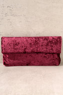 On a Roll Wine Red Velvet Clutch 1