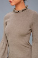 Cozy Moment Taupe Mock Neck Sweater Top 5