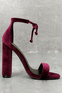 Gracie Wine Velvet Lace-Up Heels 3