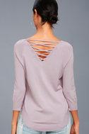 Allan Mauve Lace-Up Sweater Top 3