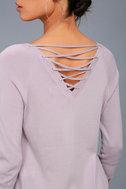 Allan Mauve Lace-Up Sweater Top 4