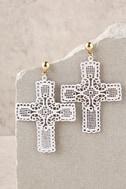 Virgin Gold and White Cross Earrings 3
