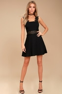Visual Treat Black Lace Skater Dress 2