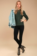 Mellow Move Forest Green Knit Sweater 1