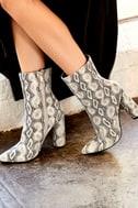 Mamba Grey Snake Print Mid-Calf Boots 8