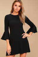 Center of Attention Black Flounce Sleeve Dress 3
