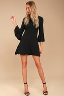 Center of Attention Black Flounce Sleeve Dress 2