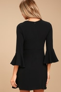 Center of Attention Black Flounce Sleeve Dress 4