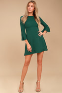 Center of Attention Forest Green Flounce Sleeve Dress 1