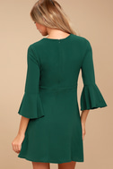 Center of Attention Forest Green Flounce Sleeve Dress 4
