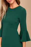 Center of Attention Forest Green Flounce Sleeve Dress 5