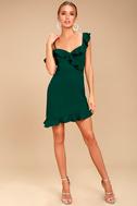 Myth Maker Forest Green Off-the-Shoulder Bodycon Dress 2