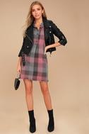 Dane Grey and Pink Plaid Sleeveless Shirt Dress 1