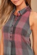 Dane Grey and Pink Plaid Sleeveless Shirt Dress 4