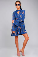 New You Royal Blue Floral Print Lace Long Sleeve Swing Dress 2
