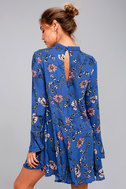 New You Royal Blue Floral Print Lace Long Sleeve Swing Dress 3