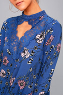 New You Royal Blue Floral Print Lace Long Sleeve Swing Dress 4