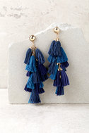 Time to Tassel Gold and Navy Blue Tassel Earrings 2