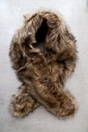 Oksana Brown Faux Fur Scarf 1