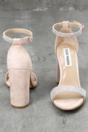 Carrson-R Rhinestone Nude Suede Leather Ankle Strap Heels 3