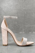Carrson-R Rhinestone Nude Suede Leather Ankle Strap Heels 2