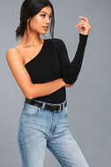 Eye Candy Black One-Shoulder Sweater Top 1