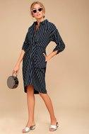 Fable Navy Blue Striped Long Sleeve Midi Dress 2