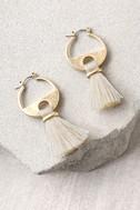 Cha Cha Gold and Cream Tassel Earrings 1