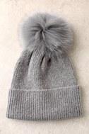 Fireside Chant Grey Fur Pompom Beanie 1
