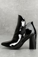 Skyla Black Patent Pointed Toe Ankle Booties 1