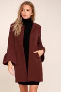 Flare Affair Burgundy Flounce Sleeve Coat 3