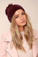 Colorado Peak Burgundy Pompom Beanie 2