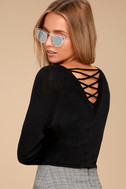 Allan Black Lace-Up Sweater Top 5