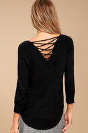 Allan Black Lace-Up Sweater Top 1