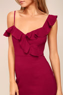 Myth Maker Berry Red Off-the-Shoulder Bodycon Dress 5