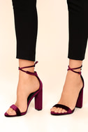 Gracie Wine Velvet Lace-Up Heels 5