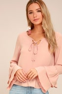 Sidewalk Catwalk Blush Pink Long Sleeve Top 2