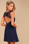 Romantic Tale Navy Blue Lace Skater Dress 3