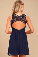 Romantic Tale Navy Blue Lace Skater Dress 4