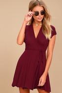 Good to Go Burgundy Short Sleeve Surplice Dress 2