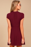 Good to Go Burgundy Short Sleeve Surplice Dress 4