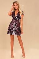 Emiree Black and Mauve Velvet Floral Print Skater Dress 1