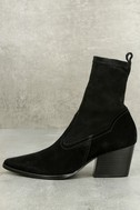 Flash Black Suede Leather Pointed Mid-Calf Boots 1